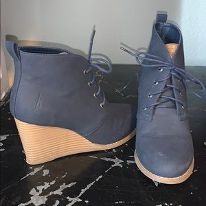 Navy blue wedge boots